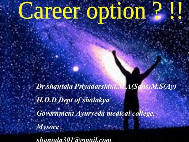 Dr.shantala Priyadarshini.M.A(Sans)M.S(Ay)H.O.D Dept of shalakyaGovernment Ayurveda medical college.Mysore