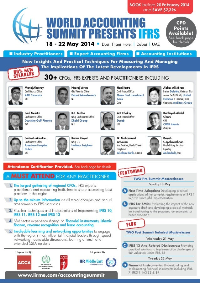 World Accounting Summit Presents IFRS, 18 - 22 May 2014, Dubai, UAE