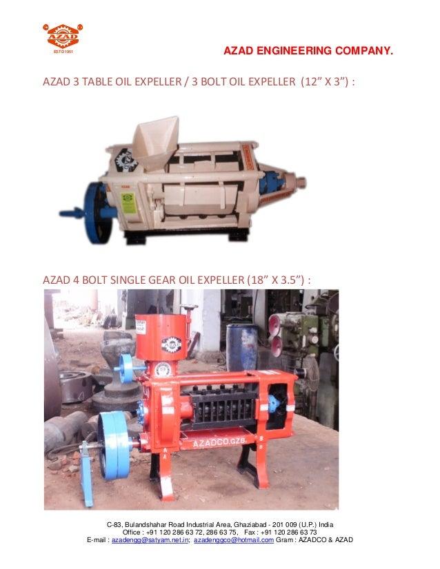 ESTD 1951                                           AZAD ENGINEERING COMPANY.AZAD 3 TABLE OIL EXPELLER / 3 BOLT OIL EXPELL...