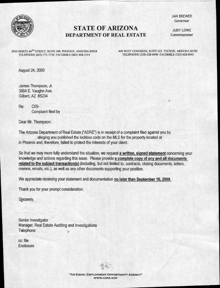 AZ Dept of Real Estate Letter