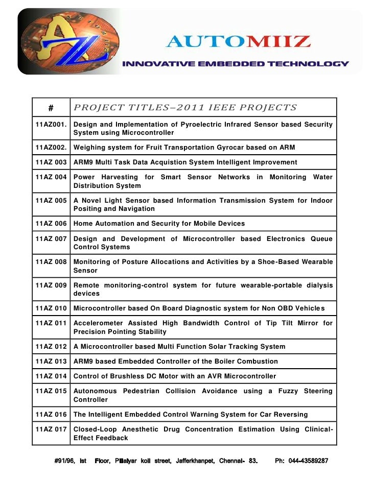 IEEE 2011 Projects@AutomiiZ