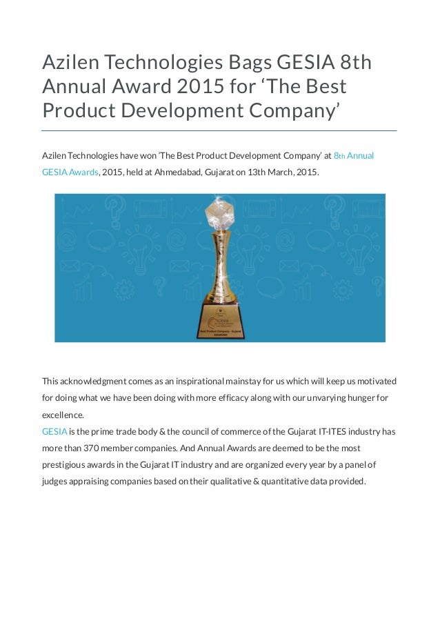 Azilen technologies bags gesia 8th annual award 2015 for for Best product development companies