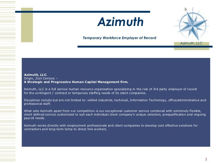 Azimuth   Temporary Workforce Employer of Record   Azimuth, LLC                                                           ...