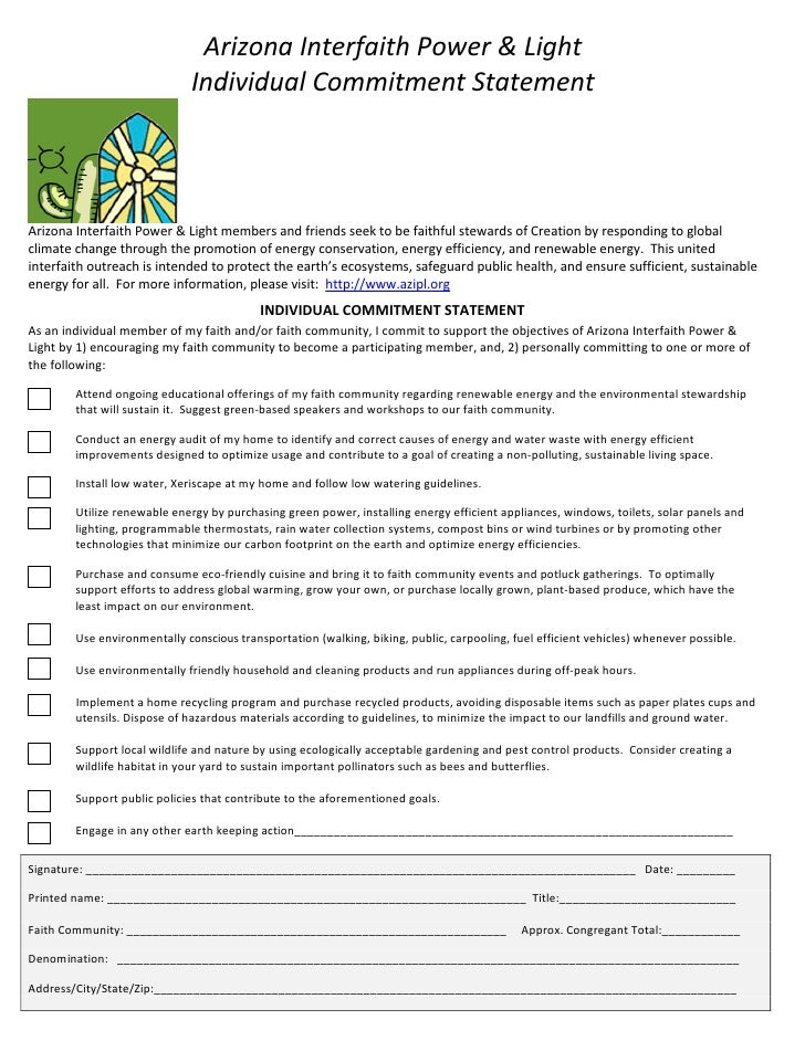 Arizona Interfaith Power & Light Individual Commitment Statement