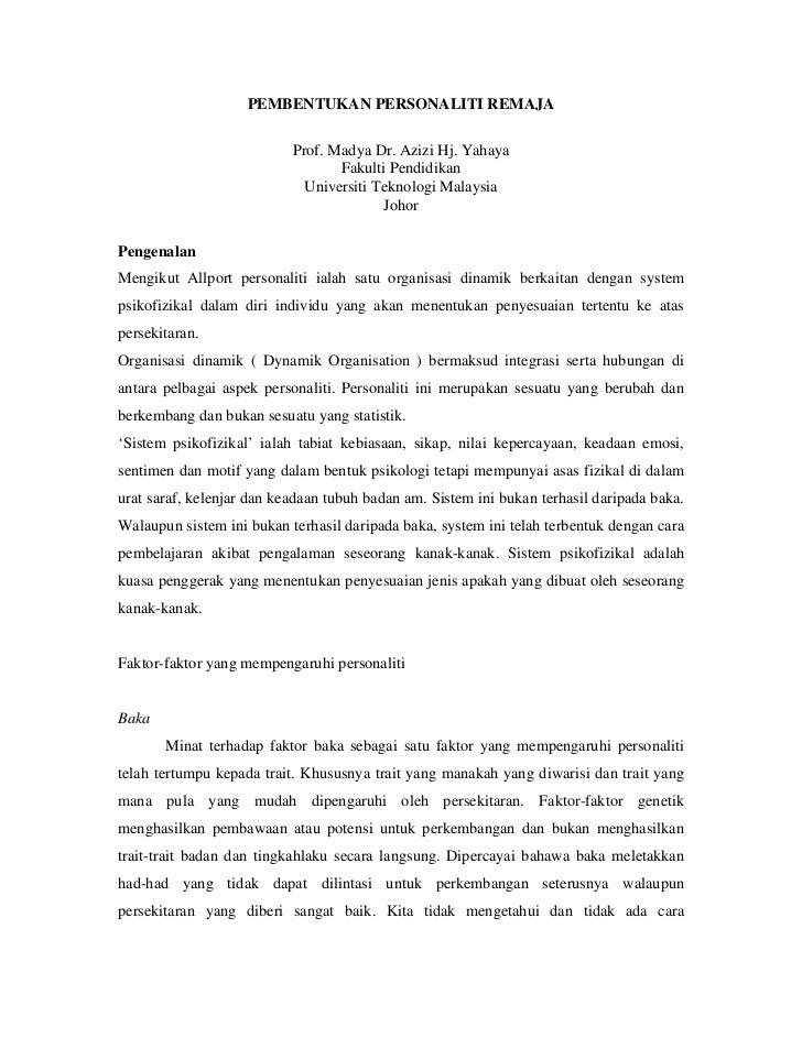 PEMBENTUKAN PERSONALITI REMAJA                           Prof. Madya Dr. Azizi Hj. Yahaya                                 ...