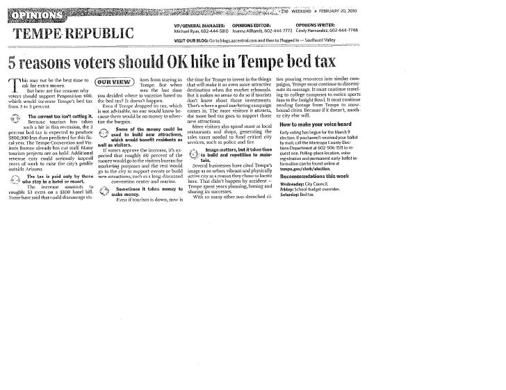 AZ Republic Supports Tempe Bed Tax Hike