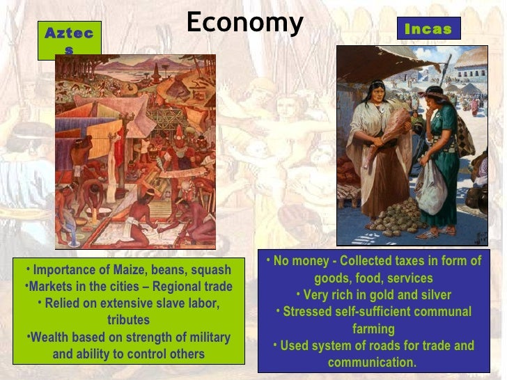 a comparison of cultures between the maya inca and aztec civilization Distinguish among the similarities and differences between an archaeologist   environment for each culture (aztec, maya, inca and inuit) and.