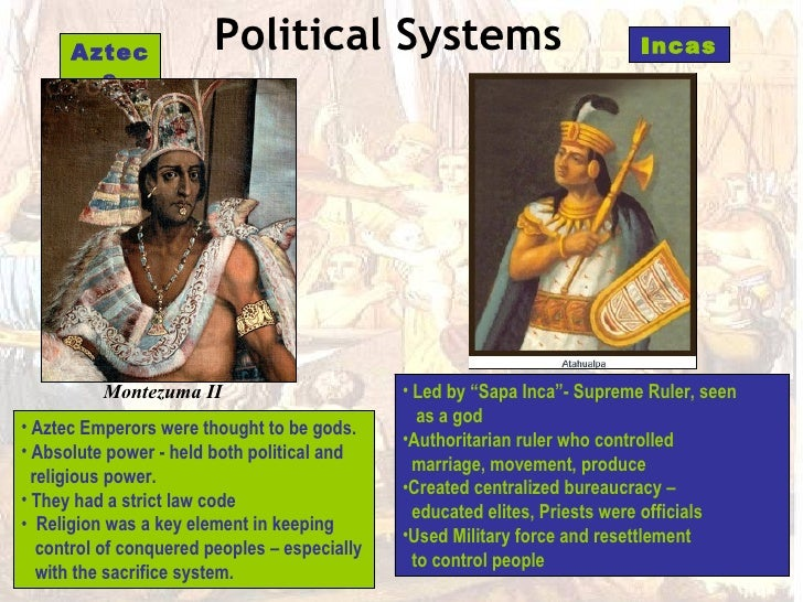 comparison of the aztec and inca However, when it came to the roles and expectations of men and women, there  are differences between the three races the maya, aztec, and inca all had a.