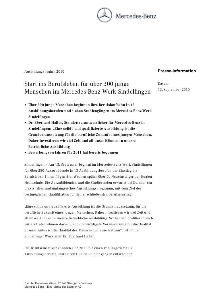 Ausbildungsbeginn 2010                                                             Presse-InformationStart ins Berufsleben...