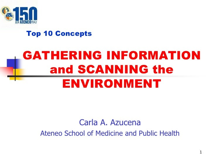 Top 10 ConceptsGATHERING INFORMATION   and SCANNING the     ENVIRONMENT              Carla A. Azucena   Ateneo School of M...