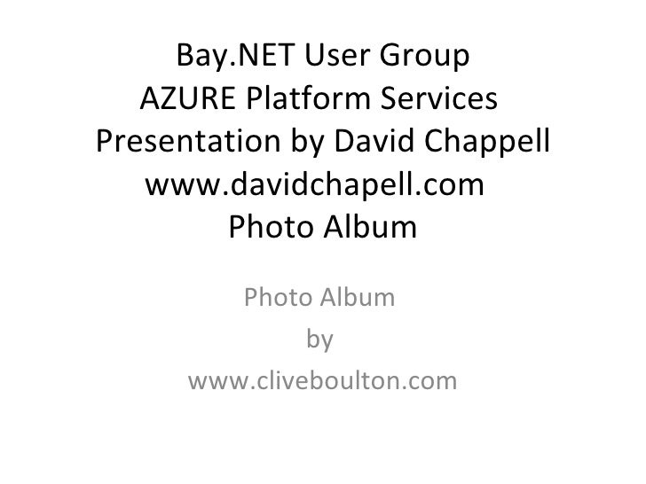 Window Azure with David Chappell at Bay.NET