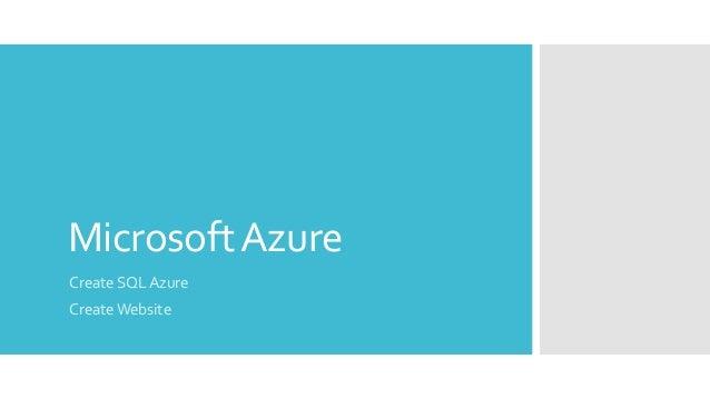 MicrosoftAzure Create SQL Azure Create Website
