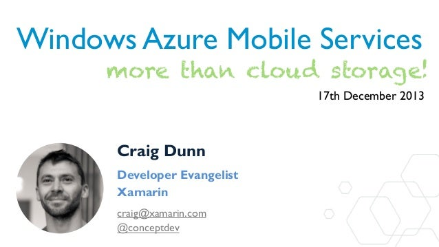 Azure Mobile Services - more than just cloud data