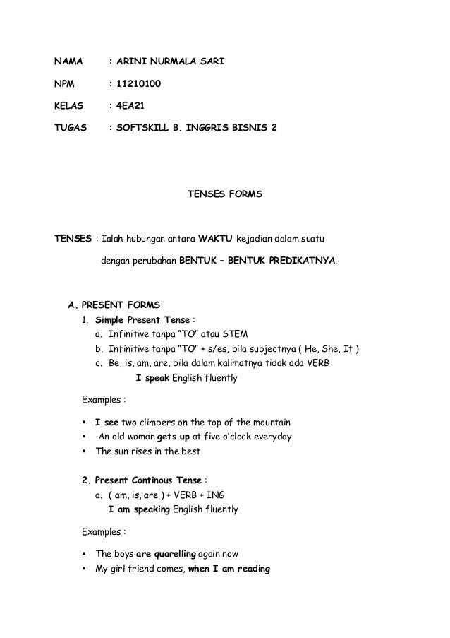 B. INGGRIS BISNIS 2 ( TENSES )