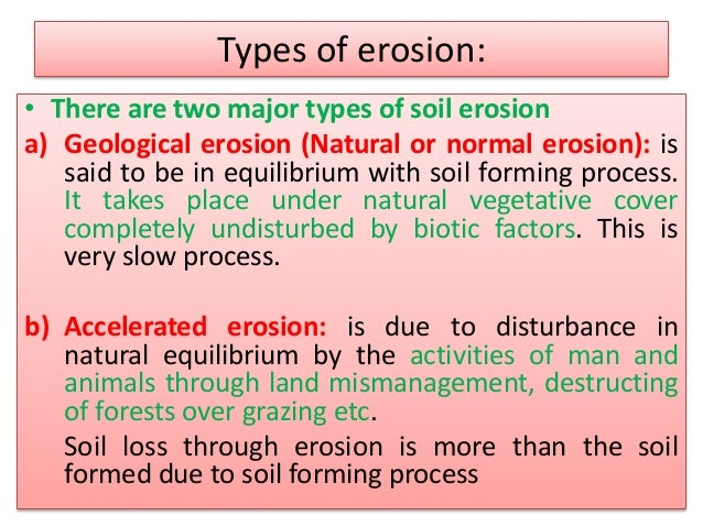 Types erosion images for 4 different types of soil