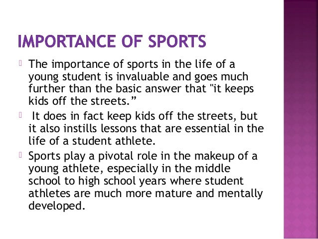 Sport in our life essay