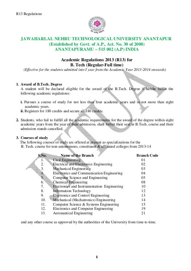 R13 Regulations JAWAHARLAL R 13 Regulations