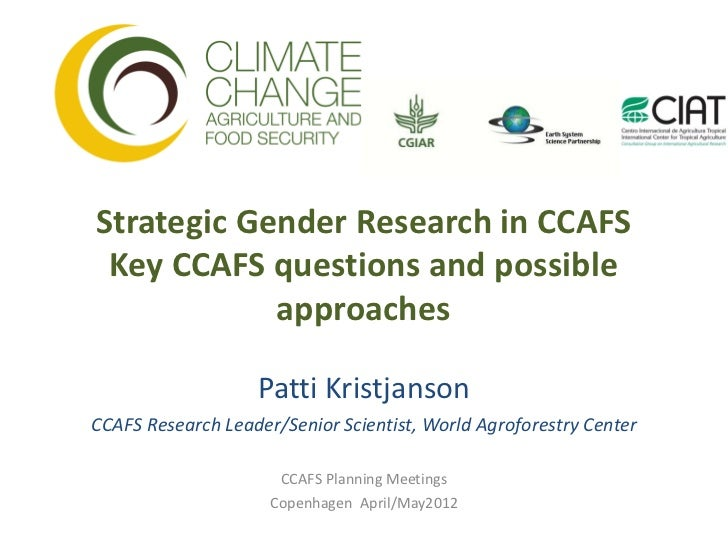 Strategic Gender Research in CCAFS Key CCAFS questions and possible            approaches                   Patti Kristjan...