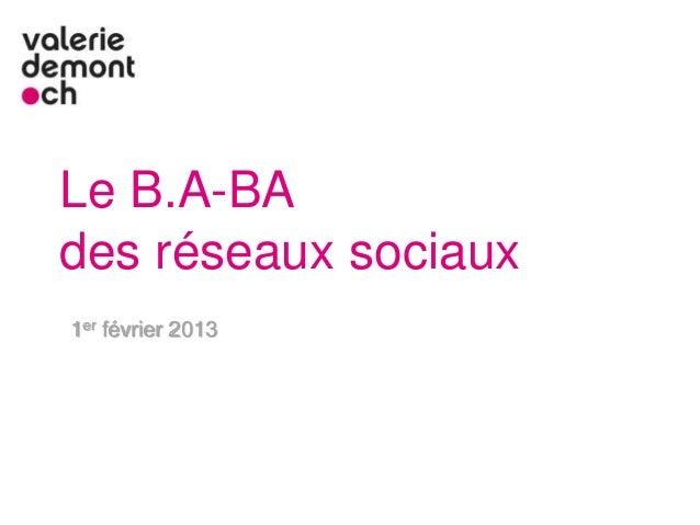 Le B.A-BAdes réseaux sociaux1er février 2013