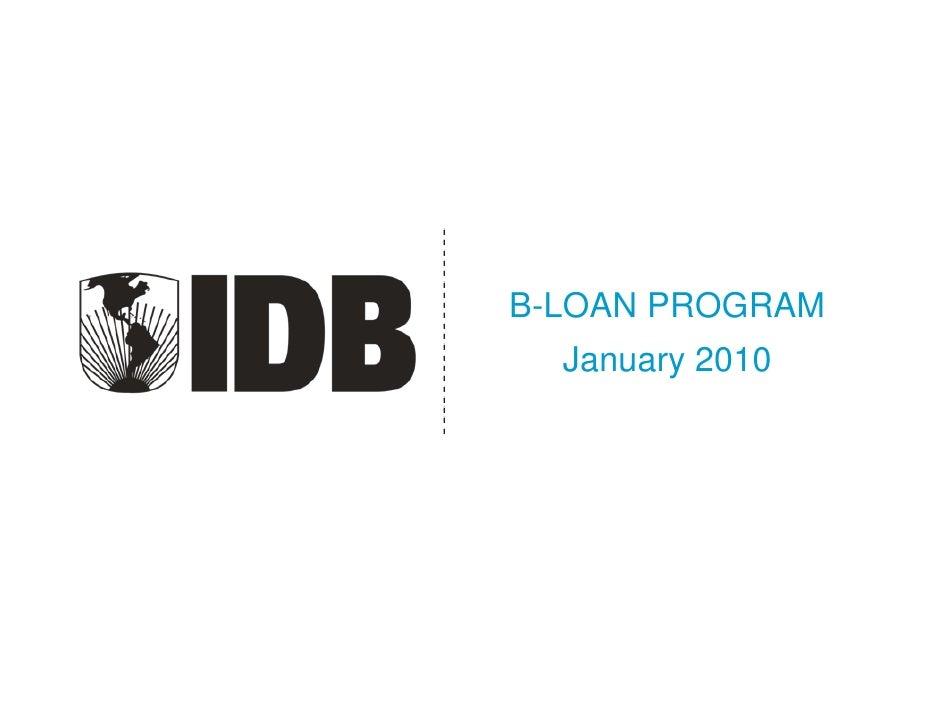B-LOAN PROGRAM   January 2010