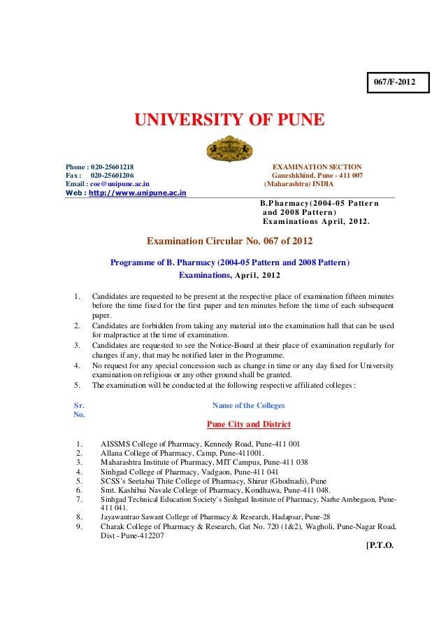 067/F-2012                    UNIVERSITY OF PUNEPhone : 020-25601218                                          EXAMINATION ...