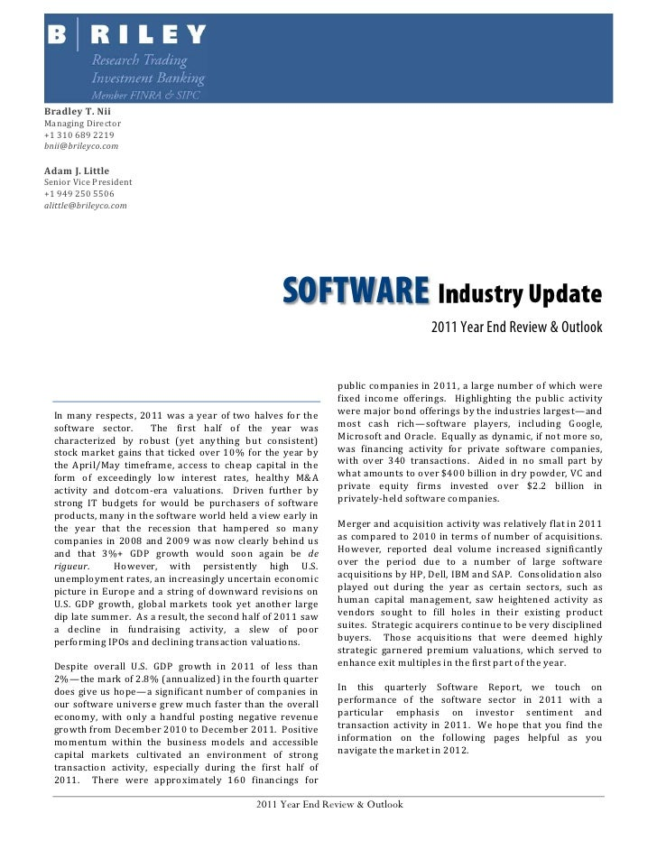 B. Riley Software Update: 2011 Year End Review & Outlook