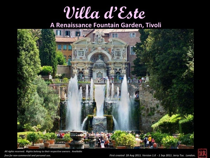 First created  28 Aug 2011. Version 1.0  - 1 Sep 2011. Jerry Tse.  London .  Villa d'Este All rights reserved.  Rights bel...