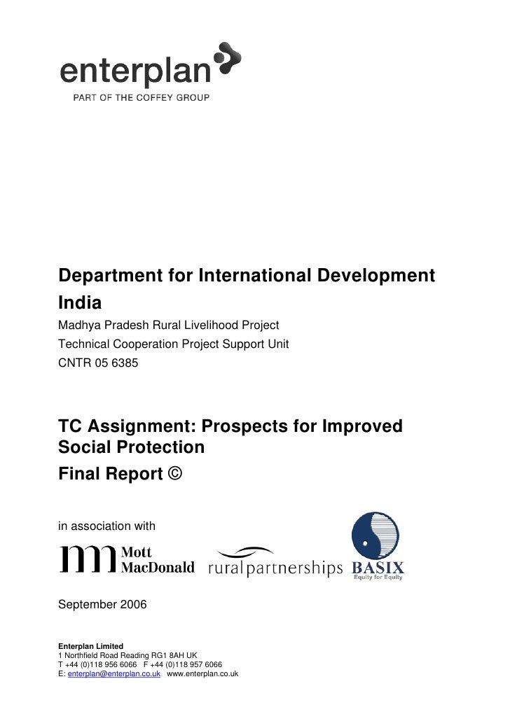 Department for International Development India Madhya Pradesh Rural Livelihood Project Technical Cooperation Project Suppo...