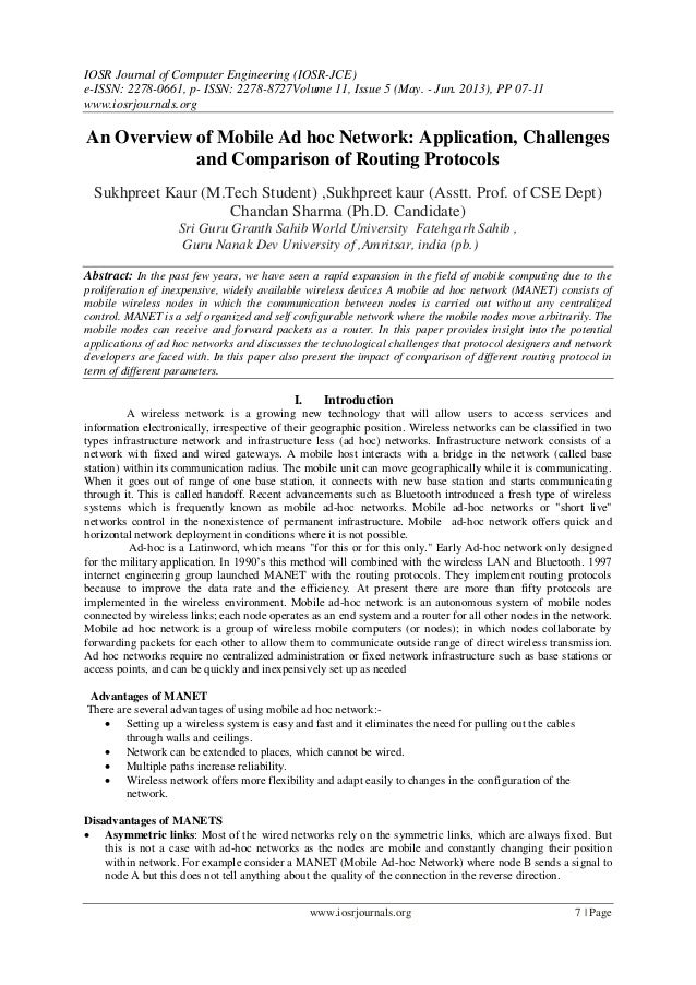 An Overview of Mobile Ad hoc Network: Application, Challenges and Comparison of Routing Protocols