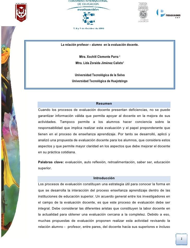 La relación profesor-alumno en la evaluación docente