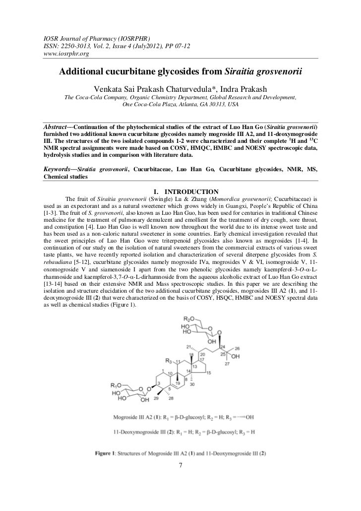 IOSR Journal of Pharmacy (IOSRPHR)ISSN: 2250-3013, Vol. 2, Issue 4 (July2012), PP 07-12www.iosrphr.org      Additional cuc...