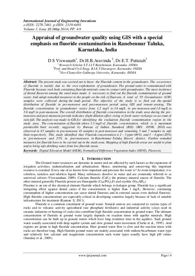 Appraisal of groundwater quality using GIS with a special emphasis on fluoride contamination in Ranebennur Taluka, Karnataka, India