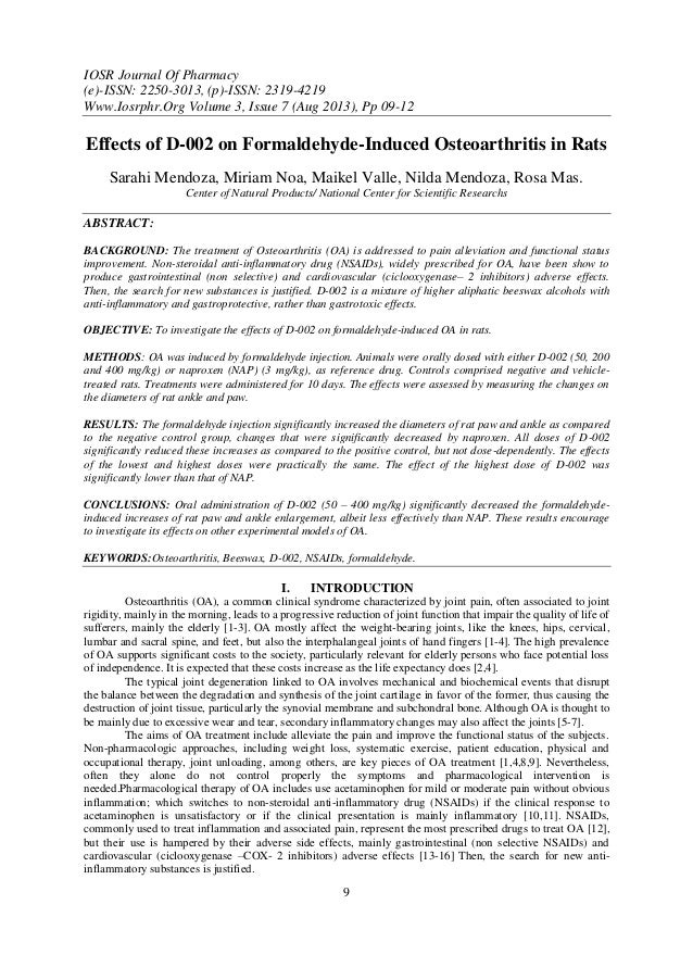 IOSR Journal Of Pharmacy (e)-ISSN: 2250-3013, (p)-ISSN: 2319-4219 Www.Iosrphr.Org Volume 3, Issue 7 (Aug 2013), Pp 09-12 9...