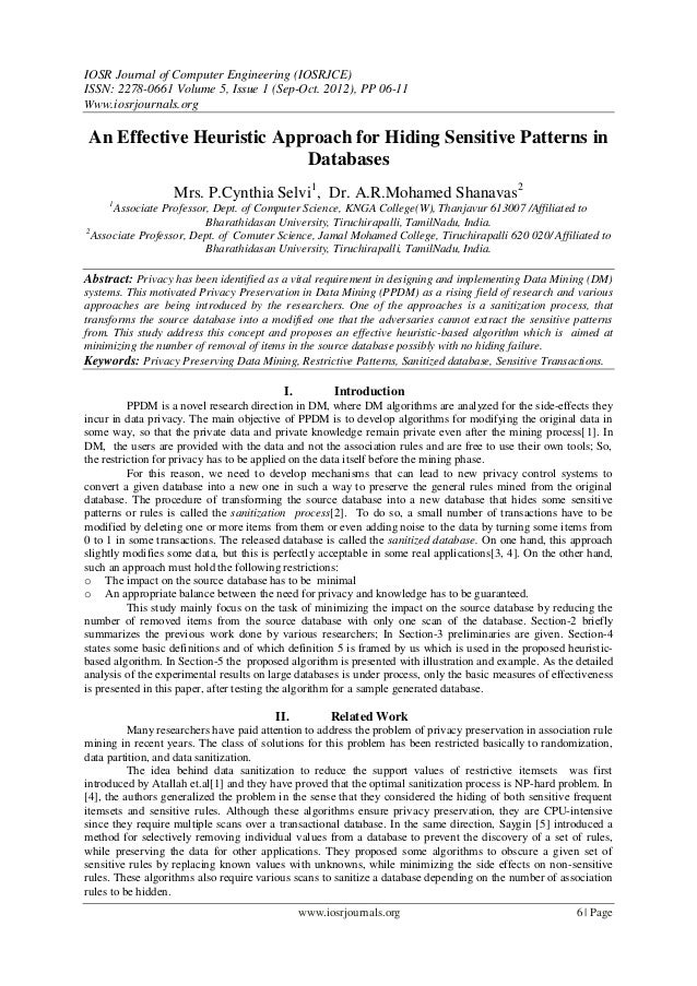 IOSR Journal of Computer Engineering (IOSRJCE) ISSN: 2278-0661 Volume 5, Issue 1 (Sep-Oct. 2012), PP 06-11 Www.iosrjournal...