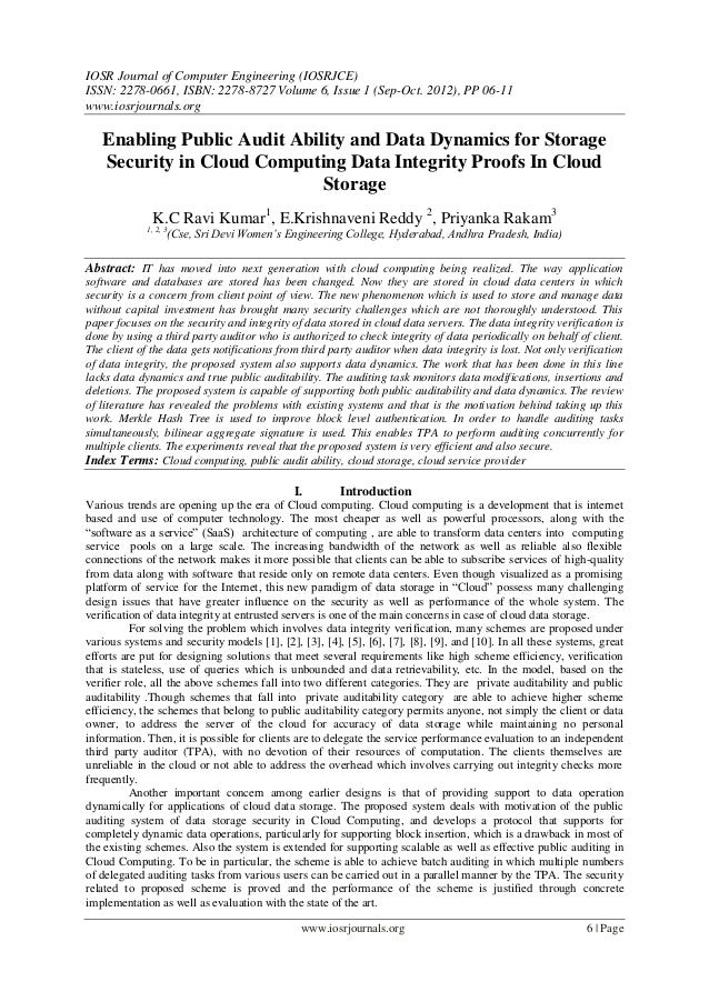 Enabling Public Audit Ability and Data Dynamics for Storage  Security in Cloud Computing Data Integrity Proofs In Cloud  Storage
