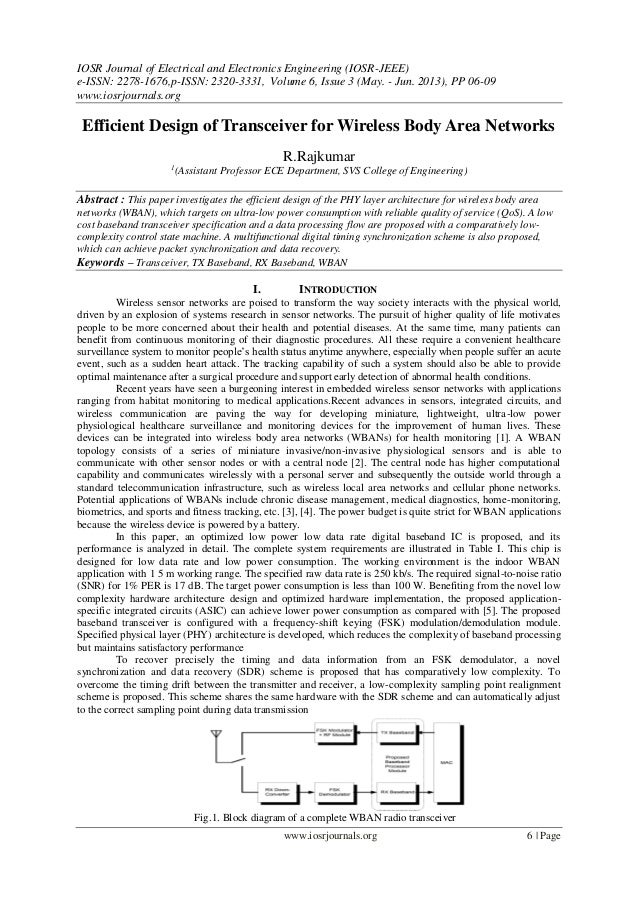 Efficient Design of Transceiver for Wireless Body Area Networks