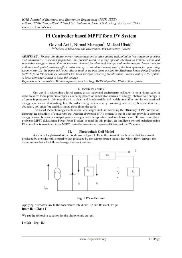 PI Controller based MPPT for a PV System