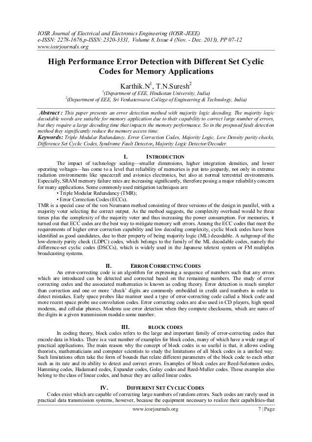 High Performance Error Detection with Different Set Cyclic Codes for Memory Applications