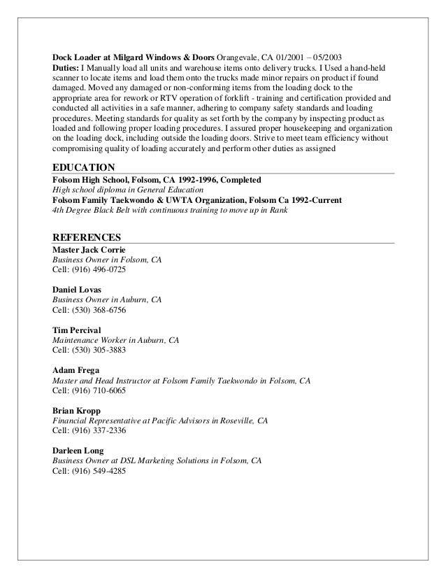 Dock loader resume