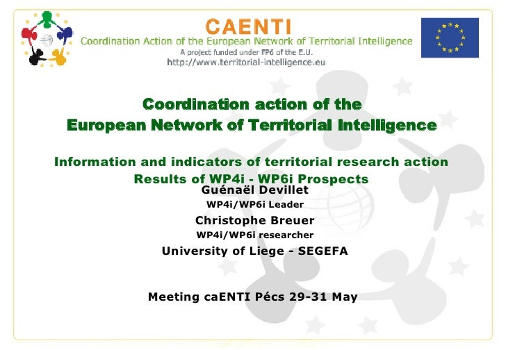 Coordination action of the European Network of Territorial Intelligence Information and indicators of territorial research...
