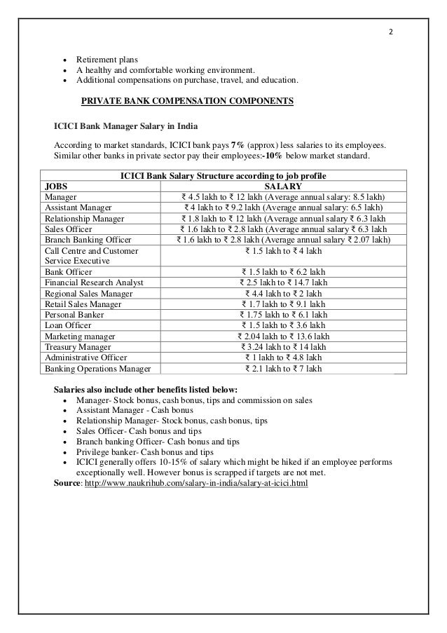 compensation package for pvt sector banks in india Medical benefits; 2.