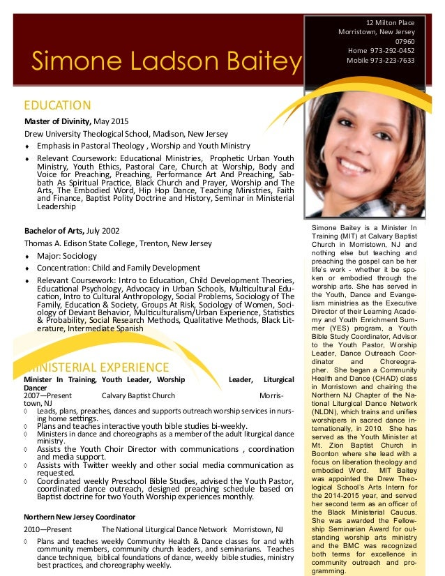 Example of a ministerial resume