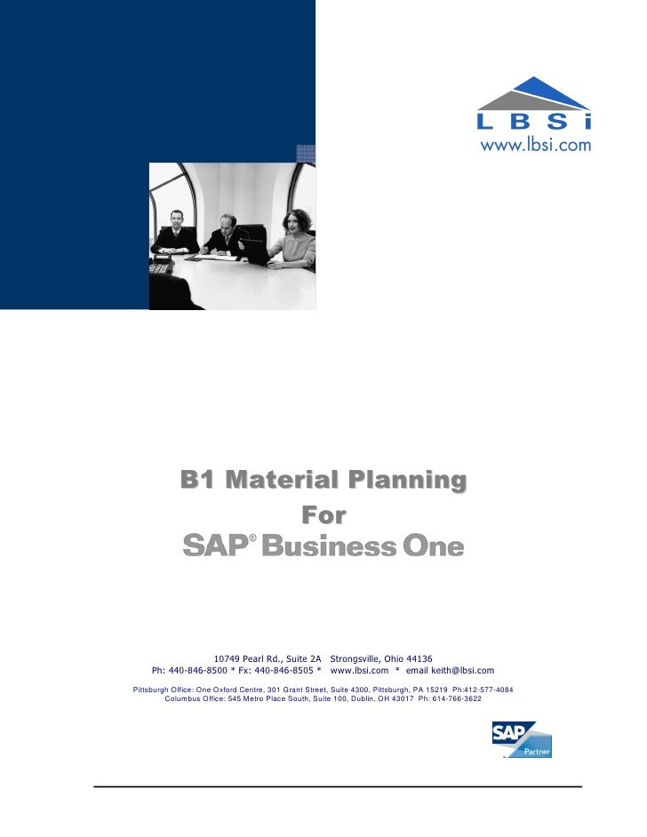 B1 Material Planning for SAP Business One