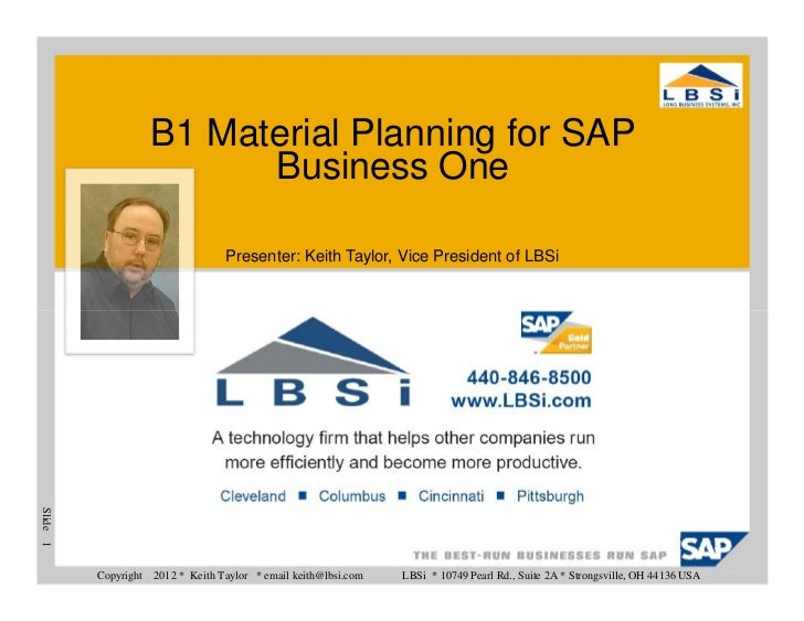 12 Reasons To Choose B1 Material Planning for SAP Business One