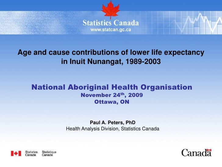 Age and cause contributions of lower life expectancy            in Inuit Nunangat, 1989-2003      National Aboriginal Heal...