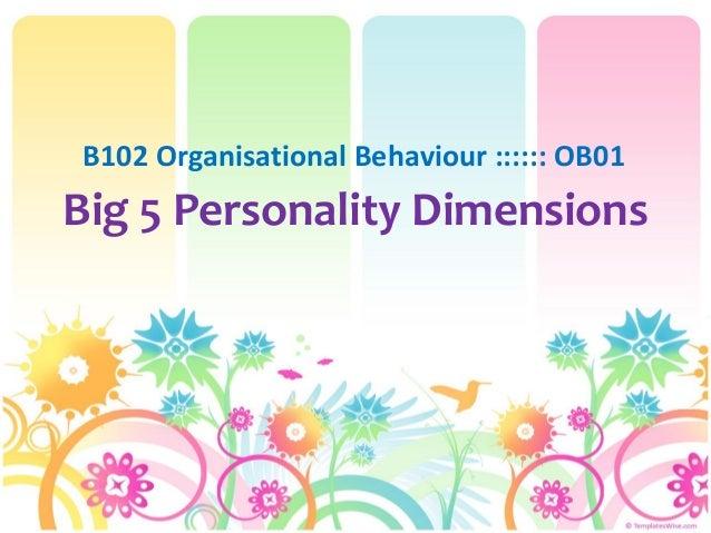 Big 5 Personality DimensionsB102 Organisational Behaviour :::::: OB01