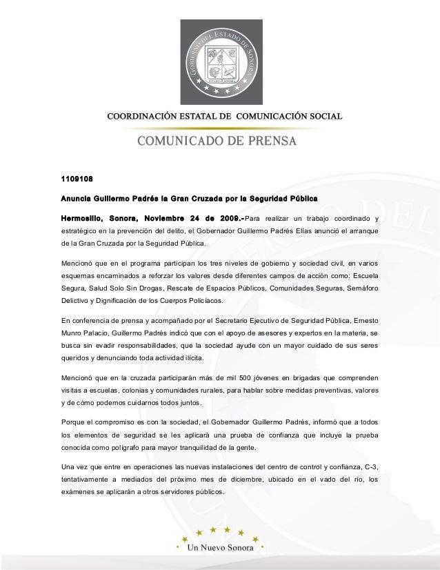 1109108 Anuncia Guillermo Padrés la Gran Cruzada por la Seguridad Pública Hermosillo, Sonora, Noviembre 24 de 2009.-Para r...