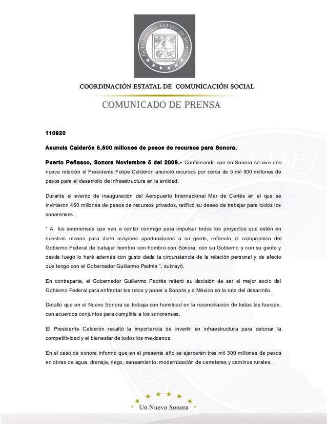 110920 Anuncia Calderón 5,500 millones de pesos de recursos para Sonora. Puerto Peñasco, Sonora Noviembre 5 del 2009.- Con...