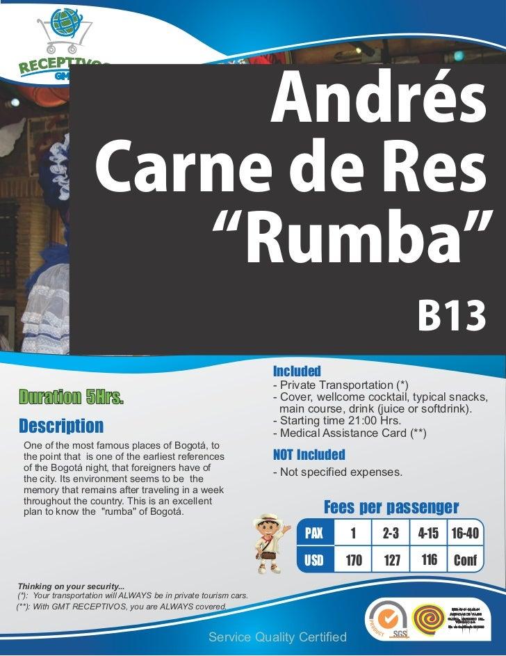 """Andrés                     Carne de Res                        """"Rumba""""                                                    ..."""
