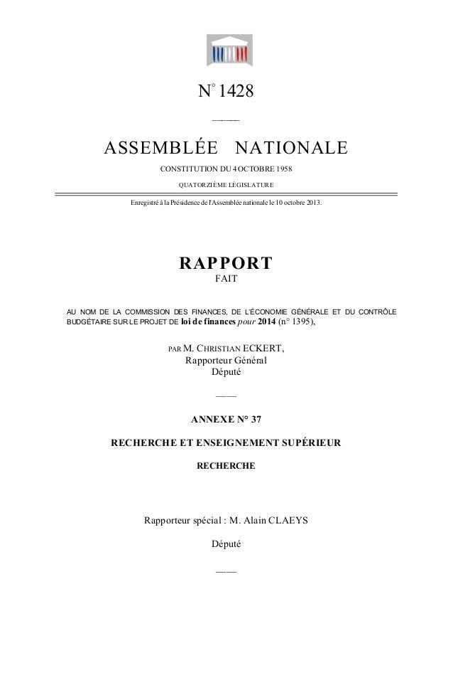 PLF 2014 : rapport Alain Claeys Enseignement supérieur et Recherche (Assemblée Nationale, octobre 2013)